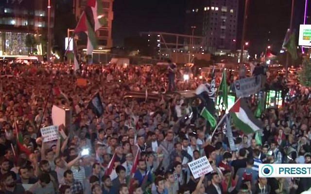 An anti-Israel protest in Istanbul, Turkey, July 2014. (YouTube/PressTV News Videos)