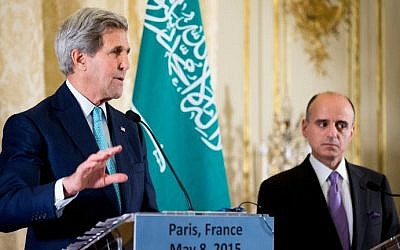 US Secretary of State John Kerry (L), accompanied by Saudi Foreign Minister Adel al-Jubeir (R) speaks at a joint news conference at the Chief of Mission Residence in Paris on May 8, 2015 (photo credit: AFP/ANDREW HARNIK/POOL)
