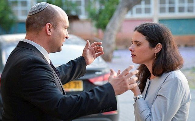 Jewish Home party leader Naftali Bennett and MK Ayelet Shaked before an event at party headquarters, May 10, 2015. (Flash90)