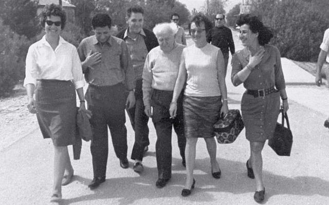 David Ben-Gurion with some of the released prisoners on January 1, 1967 (photo credit: Courtesy of IDF Archive)