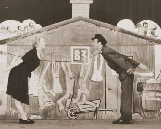 A scene from the Westerbork 'cabaret,' a weekly performance put on in the Dutch transit camp by some of the Netherlands and Germany's top Jewish performers. Each week before the Tuesday night cabaret, a transport with 1,000 victims left for Nazi death camps in Poland. (courtesy: Yad Vashem Archive)