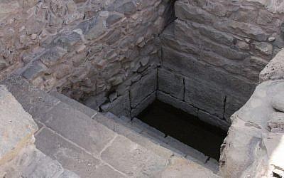 Mikvah entrance at Magdala (Shmuel Bar-Am)