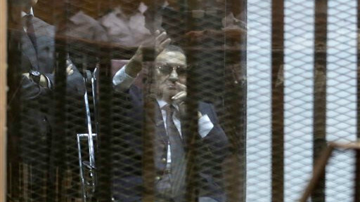 Former Egyptian President Hosni Mubarak in a courtroom in Cairo, Egypt, Saturday, May 9, 2015. (photo credit: AP/Hassan Ammar)
