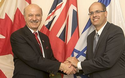 Ontario's Minister of Research and Innovation Reza Moridi (left) with Israeli Chief Scientist Avi Hasson, May 10, 2015 (photo credit: Yossi Aloni)