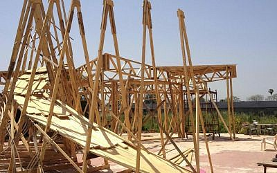 The early stages of Temple 1, the central installation built by Itamar Polege and Lior Peleg for this year's Midburn (photo credit: Jessica Steinberg/Times of Israel)