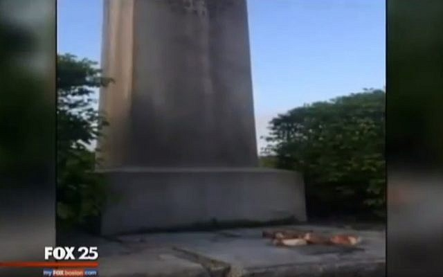 Raw pork left on a Holocaust memorial in Lynn, Massachusetts, in what police suspect may be a hate crime (YouTube screenshot)
