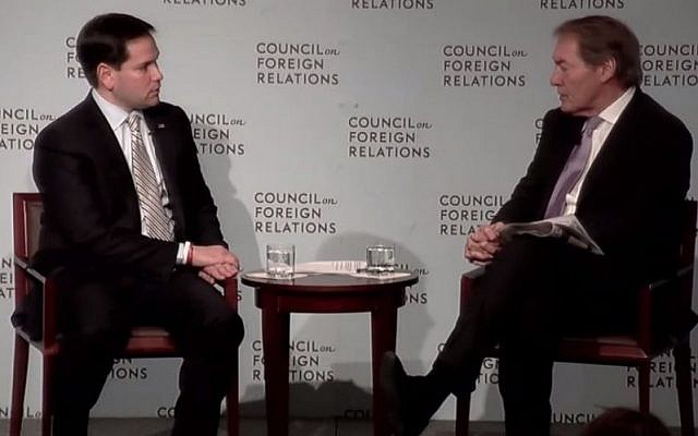 US Sen. Marco Rubio of Florida, a candidate for the Republican nomination for president, speaking to PBS's Charlie Rose at the Council on Foreign Relations in New York, May 13, 2015. Rubio said he would not pursue a two-state solution for the Israel-Palestinian conflict right now. (screen capture: YouTube)