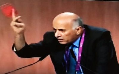 Jibril Rajoub shows a red card 'against racism' at FIFA's congress in Zurich, May 29, 2015 (Channel 2 screenshot)