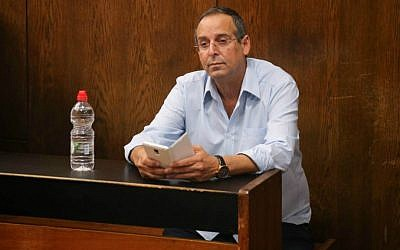Ramat Hasharon mayor Yitzhak Rochberger, convicted of fraud, breach of trust and falsifying corporate documents, at his sentencing in Tel Aviv Magistrate's Court on May 31, 2015. Photo by FLASH90