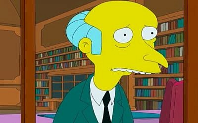 Mr Burns, character in 'The Simpsons,' voiced by Harry Shearer (screen capture: YouTube)