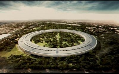 Artistic rendition of an aerial view of Apple's new headquarters, as presented by Steve Jobs to the Cupertino City Council, June 7, 2011 (Photo credit: City of Cupertino)