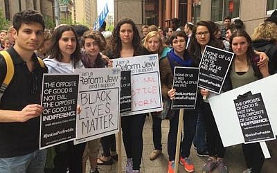 Religious Action Center of Reform Judaism legislative assistants at a rally May 1 in Baltimore. (Courtesy of Religious Action Center/via JTA)