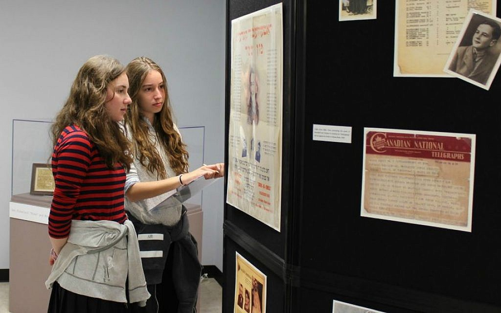 Students from Ateris Bais Yaakov, an all-girls' school from Monsey, New York visit the Kleinman Family Holocaust Education Center in Brooklyn. (courtesy)