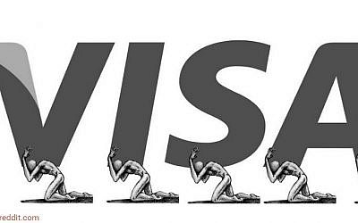 A Visa anti-logo created by an artist to draw attention to human rights abuses in Qatar to prepare for the 2022 World Cup. (Screen capture: Boredpanda/Reddit)
