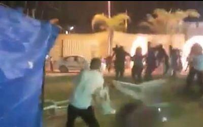 A wedding reception in Jisr az-Zarqa turned violent on Friday, May 8, 2015. (Photo credit: YouTube screen capture)