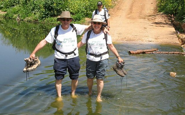 Yossi and Raya Ofner on one of the annual Nifgashim BeShvil Israel hikes. (Courtesy)