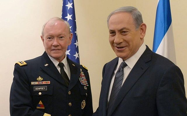 Prime Minister Benjamin Netanyahu meets with former Chairman of the Joint Chiefs of Staff General Martin Dempsey in Jerusalem, June 11, 2015. (Amos Ben Gershom/GPO)