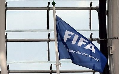 A FIFA flag at Aviva Stadium in Dublin on June 7, 2015 (Paul Faith/AFP)
