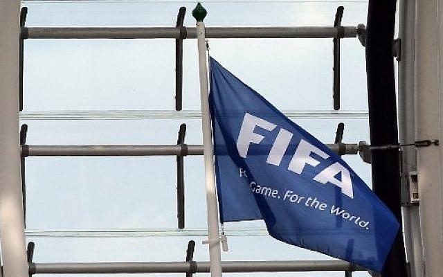 A FIFA flag at Aviva Stadium in Dublin on June 7, 2015 (Paul Faith/AFP)