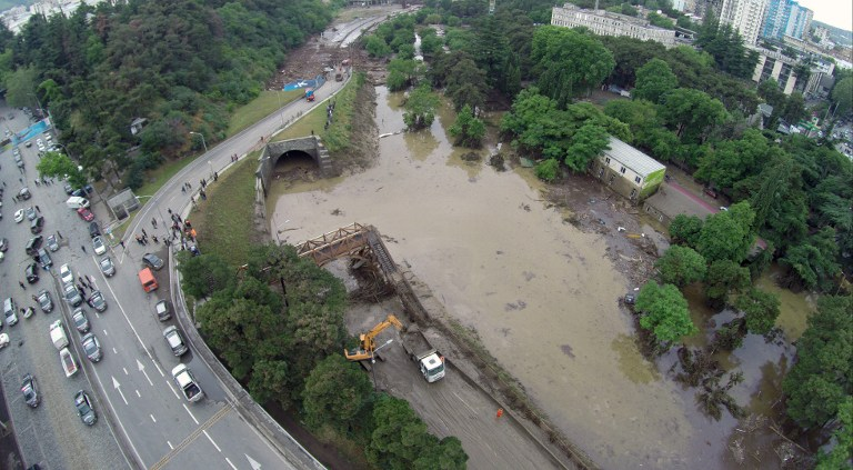 A general view taken on June 14, 2015 shows an area flooded by the overflowing of the Vere river due to heavy rainfall in the Georgian capital Tbilisi. (Irakli Gedenidze/AFP)