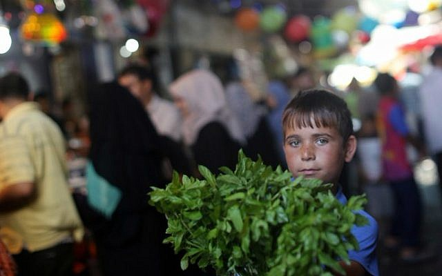 A Palestinian boy sells fresh mint in downtown Gaza City as shoppers crowd the markets in preparation for the Muslim fasting month of Ramadan on June 17, 2015. (AFP PHOTO/MAHMUD HAMS)