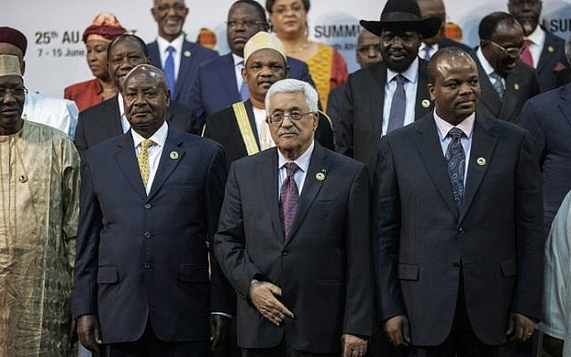 Illustrative: Mahmoud Abbas, center, at the African Union summit on June 14, 2015. (AFP/GIANLUIGI GUERCIA)