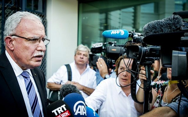 The Foreign Minister of the Palestinian Authority, Riyad al-Maliki, speaks to the media after leaving the International Criminal Court (ICC) in The Hague, on June 25, 2015. (AFP PHOTO / ANP / ROBIN VAN LONKHUIJSEN)