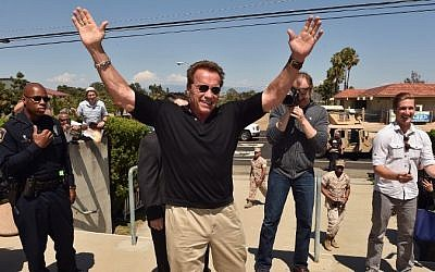 Arnold Schwarzenegger during a fan screening of the film 'Terminator Genisys' at Camp Pendleton, Oceanside, California, June 14, 2015. (Kevin Winter/Getty Images for Paramount Pictures'/AFP)