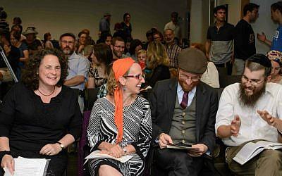 Four fresh rabbis ordained in June 2015 by Har'el Beit Midrash. From left: Rabbis Rahel Berkovits, Meesh Hammer-Kossoy, Lev Eliezer Israel, and Ariel Evan Mayse. (Sigal Krimolovski)