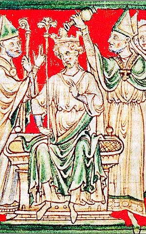 A 13th century rendition of Richard 'the Lionheart,' Richard I of England, being anointed during his coronation in Westminster Abbey. (public domain, via wikipedia)