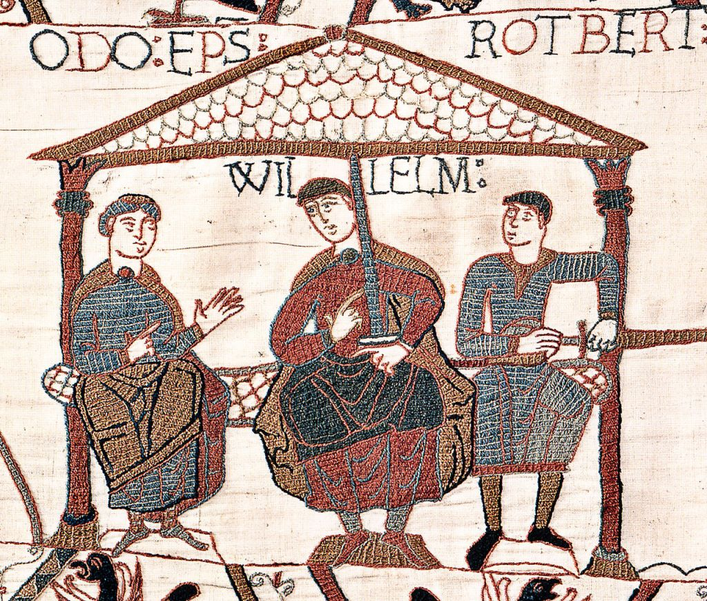 Image from the Bayeux Tapestry showing William the Conqueror (center) with his half-brothers. (Public Domain, via wikipedia)