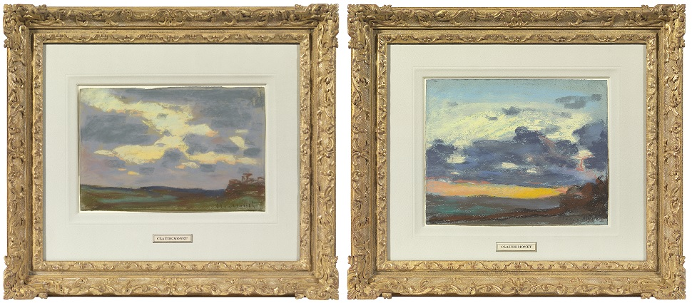 Jonathan Green of the Richard Green Gallery purchased these two Monet sky studies in pastel in an auction in Paris. Only upon close examination did he see a third drawing on the back of one of them. (Courtesy Richard Green Gallery)