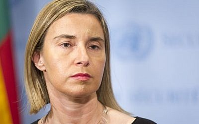 Federica Mogherini, European Union High Representative for Foreign Affairs and Security Policy and Vice-President of the European Commission, speaks to journalists after addressing the Security Council on May 11, 2015. (UN/Mark Garten)
