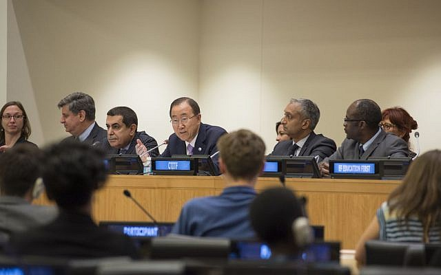 Secretary-General Ban Ki-moon (center) addresses a UN Alliance of Civilizations panel discussion on youth and peacebuilding on June 17, 2015. (Eskinder Debebe/UN)