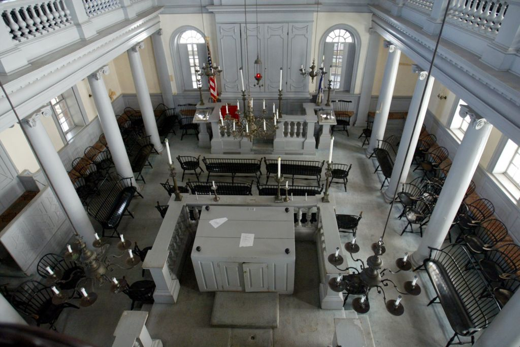 The sanctuary of the historic Touro Synagogue in Newport, R.I. is seen in 2005. The synagogue, the oldest existing Jewish house of worship in North America, was undergoing a $10 million restoration to stop the decay brought on by the salt air in the seaport community and from previous restoration and maintenance. (AP Photo/Joe Giblin)
