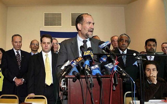 Senior Rabbi of Rivardale Jewish Center Jonathan Rosenblatt speaks at a solidarity interfaith gathering attended by clergy, politicians, community leaders and activists at the Riverdale Jewish Center in Bronx, NY, Friday, May 22, 2009. (AP Photo/David Karp)