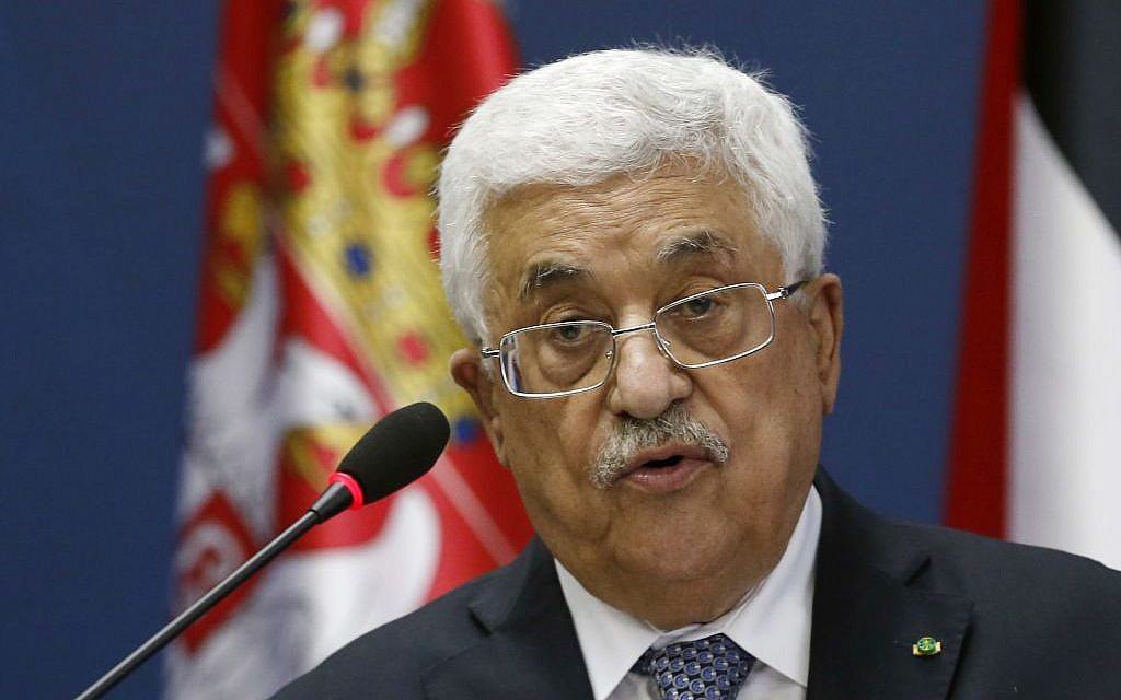 Palestinian Authority President Mahmoud Abbas speaks during a press conference, June 10, 2015 (AP/Darko Vojinovic)
