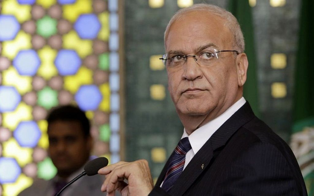 Palestinian negotiator Saeb Erekat at a press conference following an emergency meeting at the Arab League headquarters in Cairo, Egypt, August 11, 2014 (AP/Amr Nabil)