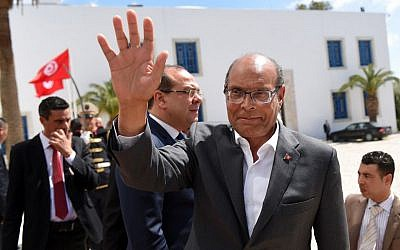 Tunisian former president Moncef Marzouki in Tunis, March 29, 2015. (AP Photo/Emmanuel Dunand, pool)
