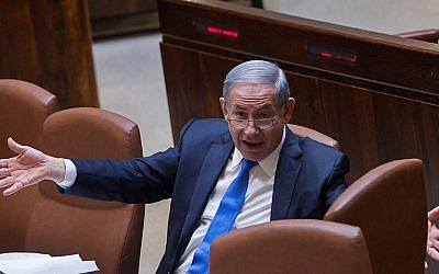 Prime Minister Benjamin Netanyahu gestures during a plenum session in the assembly hall of the Knesset on June 17, 2015. (Miriam Alster/FLASH90)