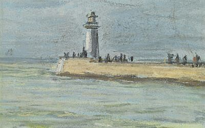 A pastel on paper drawing of the lighthouse and jetty at Le Havre, by Claude Monet, c. 1868. The piece lay hidden inside the frame of another pastel by Monet. (Courtesy Richard Green Gallery)