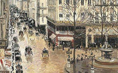 Detail from Camille Pissarro's 'Rue Saint-Honoré, Après-midi, Effet de Pluie' (Wikimedia/public domain)