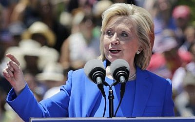 Democratic presidential candidate, former secretary of state Hillary Rodham Clinton, speaks to supporters  on Roosevelt Island in New York, June 13, 2015. (AP/Frank Franklin II)