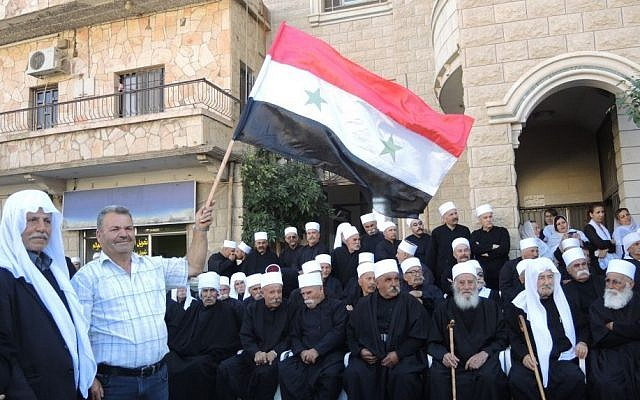 A group of Druze sheikhs at a pro-Syria rally in Majdal Shams in the Golan Heights on Monday. (Melanie Lidman/Times of Israel)