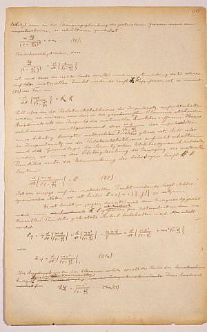 Albert Einstein's original manuscript for the Theory of Relativity, 1912 (Courtesy Israel Museum)