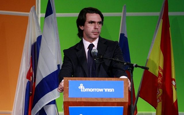 Jose Marie Aznar, former Prime Minister of Spain, speaks at the Israeli Presidential Conference at the International Conference Center in Jerusalem on May 14, 2008. (Olivier Fitoussi /Flash90)