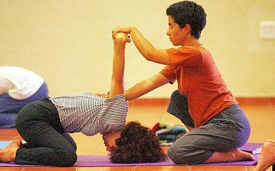 File: A yoga class (Moshe Shai/Flash 90)