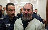 Jack Tytell (right), convicted terrorist, is seen at the Jerusalem District Court on January 16, 2013. (Yonatan Sindel/Flash90)