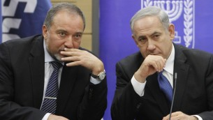 Avigdor Liberman (left) and Benjamin Netanyahu (Yonatan Sindel/Flash90)