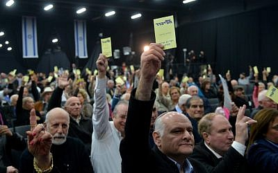 Illustrative: Members of the Likud party central committee vote  during a gathering of the Likud Central Committee in Tel Aviv in 2013. (Yossi Zeliger/Flash90)
